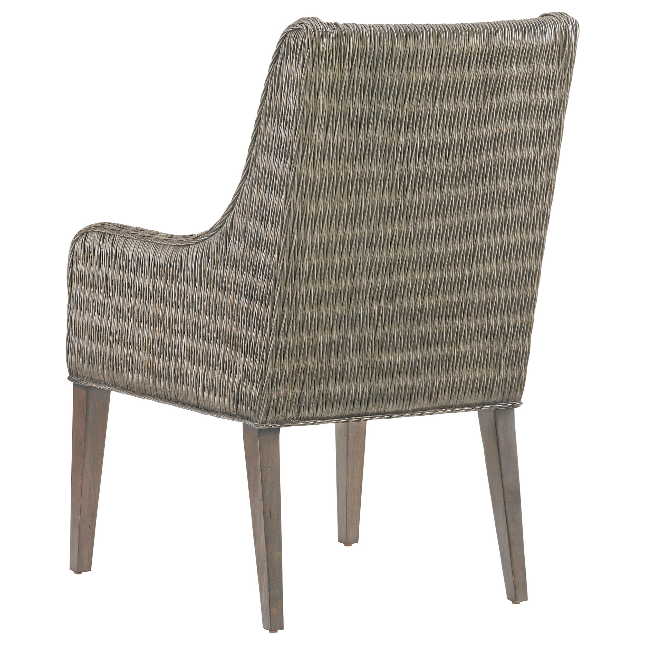 Tommy Bahama Home Cypress Point 562 883 01 Brandon Woven Rattan Arm Chair With Gray Faux Leather