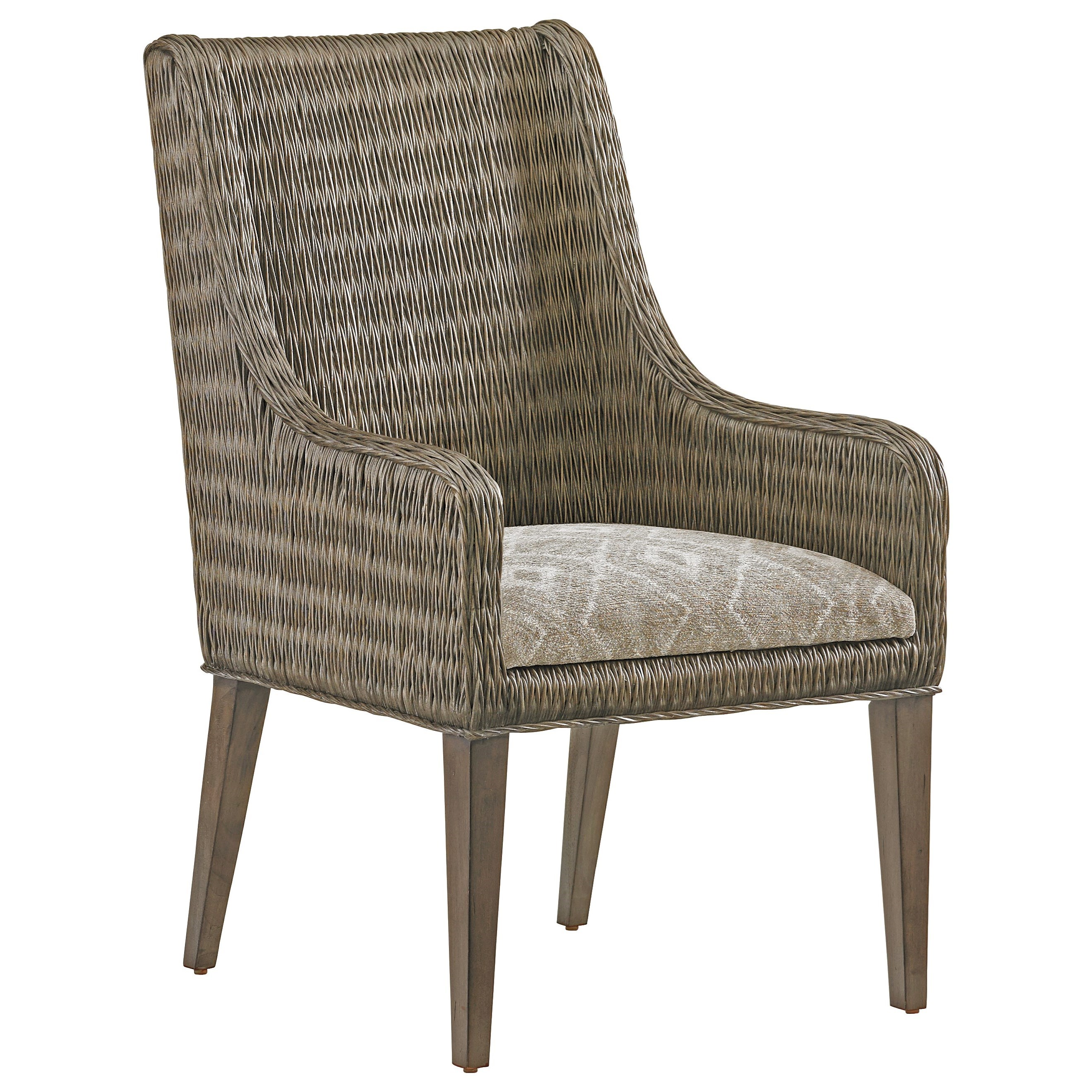 Tommy Bahama Home Cypress Point 562 883 Brandon Woven Rattan Arm Chair With Custom Fabric