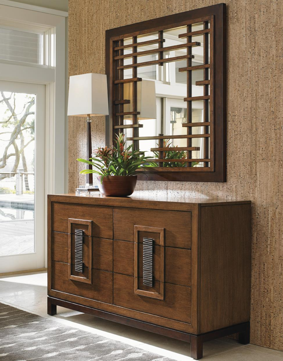 Tommy Bahama Home Island Fusion Tahara Dresser and Mirror Set - Item Number: 556-222+204