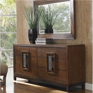 Tommy Bahama Home Island Fusion Heron Island Asian-Inspired Dresser and Luzon Landscape Mirror Set