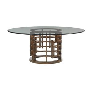 "Tommy Bahama Home Island Fusion Meridien Dining Table with 72"" Glass Top"