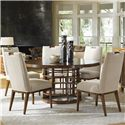 Tommy Bahama Home Island Fusion Meridien Dining Table and Side Chair Set - Item Number: 556-875C+5X556-884-02