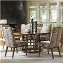 Tommy Bahama Home Island Fusion Meridien Dining Table and Side Chair Set - Item Number: 556-875C+5X556-884