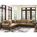 Tommy Bahama Home Island Traditions Westbury Sectional Sofa with Woven Rattan Detailing and Classic Turned Feet