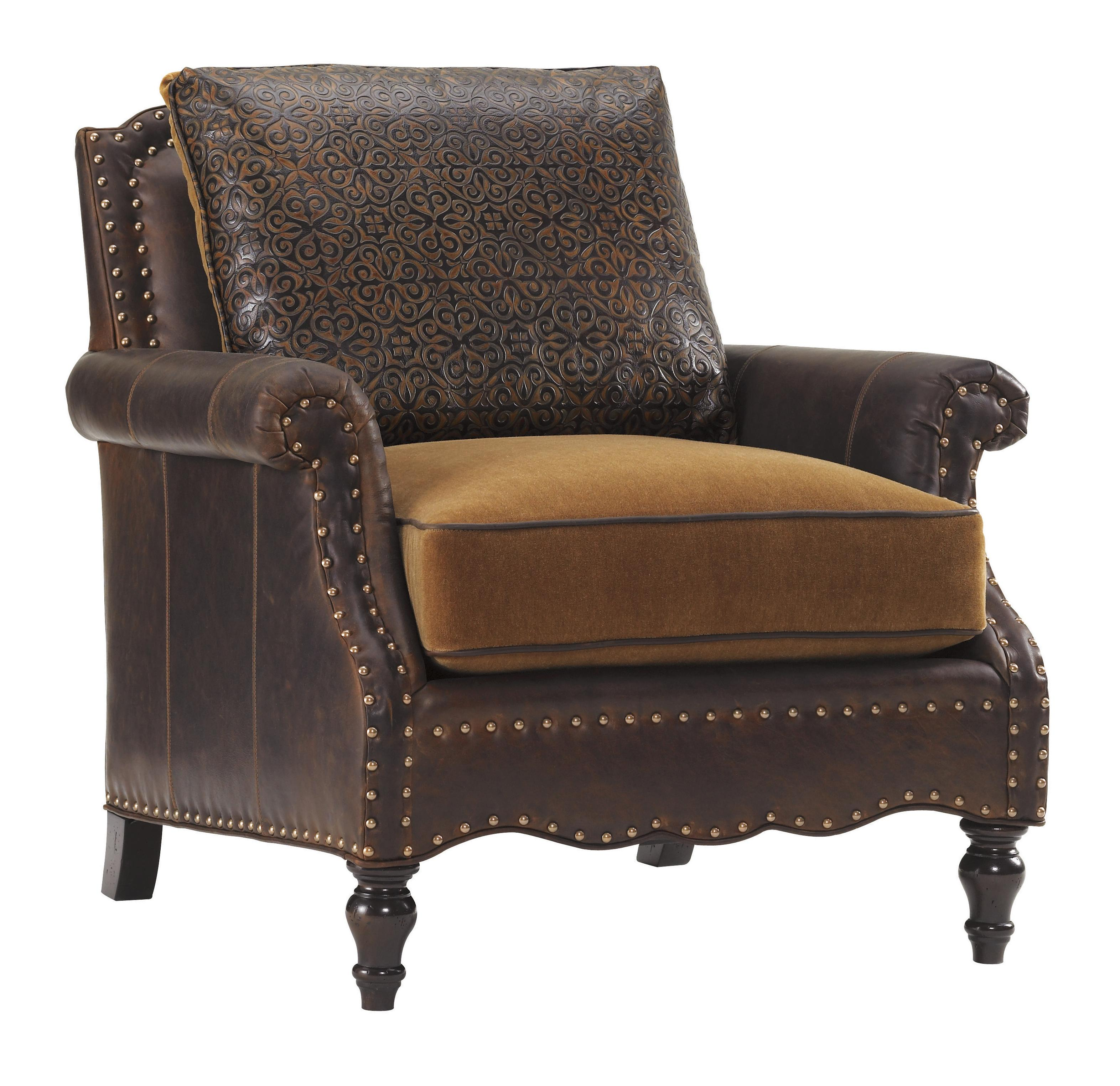 Tommy Bahama Home Tommy Bahama Upholstery Ll7884 11aa Belgrave Leather Chair With Brown Leather Upholstery And Decorative Nailheads Baer S Furniture Upholstered Chairs