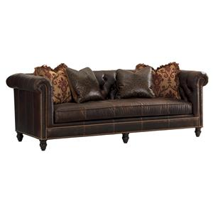 Tommy Bahama Home Island Traditions Manchester Leather Sofa (married cover)