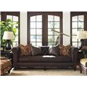 Tommy Bahama Home Island Traditions Manchester Chesterfield-Style Sofa with Button Tufting and Brown Leather Upholstery