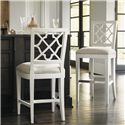 Tommy Bahama Home Ivory Key <b> Quickship </b> Newstead Bar Stool with Quatrefoil Splat Back - Shown with Newstead Counter Stool