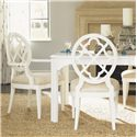 Tommy Bahama Home Ivory Key <b> Customizable </b>Mill Creek Arm Dining Chair with Quatrefoil Diamond Back - Shown with Mill Creek Side Chairs and Castel Harbour Dining Table