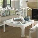 Tommy Bahama Home Ivory Key Cassava Cocktail Table with Glass Insert and Quatrefoil Fretwork - Shown with Coco Reef Sofa
