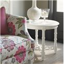 Tommy Bahama Home Ivory Key Edgehill Round Lamp Table with Diamond Lattice Stretcher - Shown with Swan Island Sofa