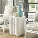 Tommy Bahama Home Ivory Key Quatrefoil Shaped Spar Point Chairside Table with Woven Raffia - Shown with Heydon Chairs