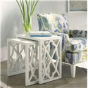 Tommy Bahama Home Ivory Key Stovell Ferry Nesting Tables with Lattice Sides - Shown with Walton Chair