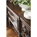 Tommy Bahama Home Kilimanjaro Cipriana Sideboard with Turned Wood Legs and Hammered Copper Top