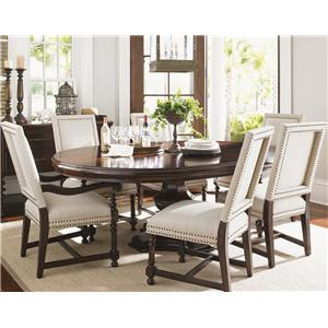 Tommy Bahama Home Kilimanjaro Maracaibo Dining Table and Cape Verde Chairs