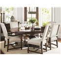 Tommy Bahama Home Kilimanjaro Maracaibo Dining Table and Cape Verde Chairs - Item Number: 552-875C+4X552-880-01+2X552-881-01