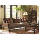 Tommy Bahama Home Landara Las Palmas Sofa with Scattered Back Pillows, Rattan Back and Bamboo Detailing