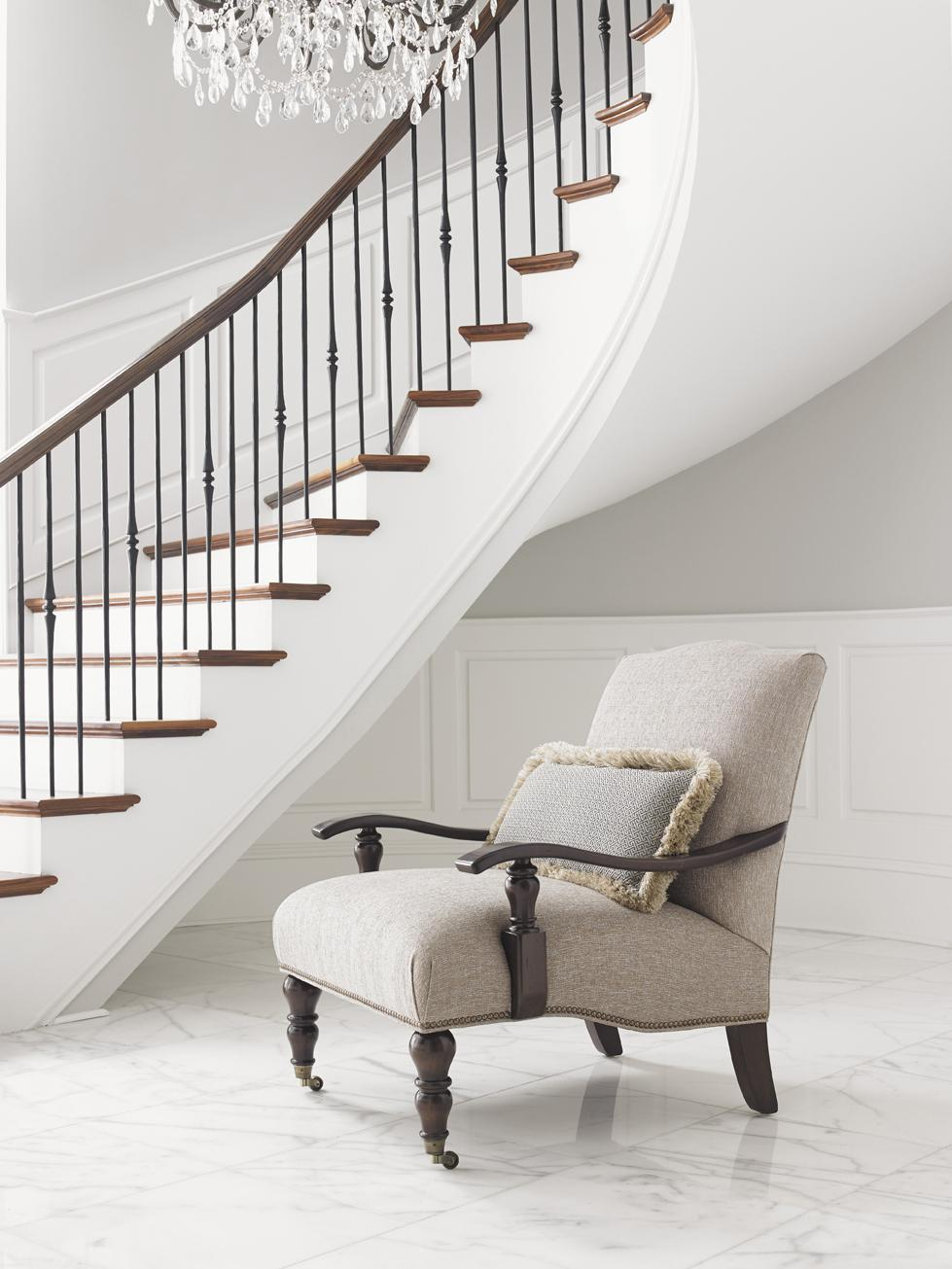Tommy Bahama Home Landara San Carlos Chair With Exposed Wood Arms And Casters Reeds Furniture