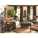 Tommy Bahama Home Landara Carrera Tufted Chair with Exposed Wood Arms and Turned Legs