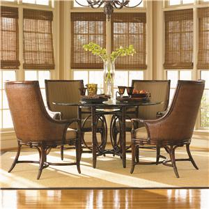 Tommy Bahama Home Landara Coral Sea Rattan Table & Royal Palm Armchair