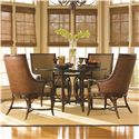 Tommy Bahama Home Landara Coral Sea Rattan Table & Royal Palm Armchair - Item Number: 545-875+001-060GT+4X545-883-01