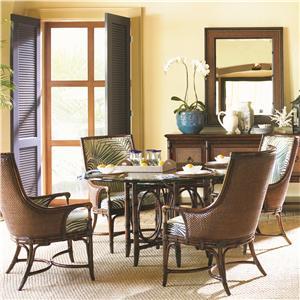 Tommy Bahama Home Landara Coral Sea Rattan Table & Royal Palm Armchair