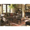 Tommy Bahama Home Landara Southport Sofa with Turned Wood Legs and Casters