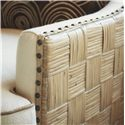 Tommy Bahama Home Road To Canberra Byron Bay Fabric-Upholstered Swivel Chair with Parquet Pattern Woven Rattan