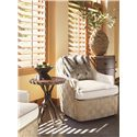 Tommy Bahama Home Road To Canberra Byron Bay Fabric-Upholstered Swivel Chair with Parquet Pattern Woven Rattan - Shown with Yarra End Table & Duntroon Hall Chest
