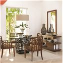 Tommy Bahama Home Ocean Club <b>Quick Ship</b> Lanai Arm Chair with Geometric Pattern - Shown with South Sea Round Glass Table, Lagoon Sofa Table, and Somerset Mirror