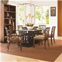 Tommy Bahama Home Ocean Club <b>Quick Ship</b> Lanai Arm Chair with Geometric Pattern - Shown with Lanai Side Chairs, South Sea Rectangular Glass Table, and Tradewinds Bookcase/Etegere