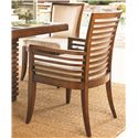 Tommy Bahama Home Ocean Club <b>Quick Ship</b> Kowloon Arm Chair with Horizontal Slats - Horizontal Back Slats Lend Appealing Lines to the Design