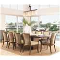 Tommy Bahama Home Ocean Club <b>Quick Ship</b> Kowloon Arm Chair with Horizontal Slats - Shown with Kowloon Side Chairs and Peninsula Dining Table with Leaf