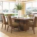 Tommy Bahama Home Ocean Club <b>Customizable</b> Kowloon Arm Chair with Horizontal Slats - Shown with Kowloon Side Chairs and Peninsula Dining Table with Leaf