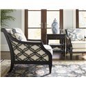 Tommy Bahama Home Royal Kahala Bay Club Chair with Quatrefoil Design Sides - Shown with haven Nightstand