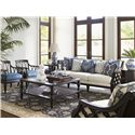 Tommy Bahama Home Royal Kahala Bay Club Exposed Wood Sofa with Quatrefoil Design - Shown with Ginger Chairs, Tropic Cocktail Table, Tropic Lamp Table, and Pacific Campaign Accent Table