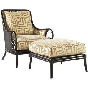Tommy Bahama Home Royal Kahala Sumatra Chair & Ottoman