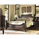 Tommy Bahama Home Royal Kahala King-Size Harbour Point Headboard & Footboard Bed with Rattan Panels - Shown with Pediment Removed and with Mauna Chest, Orchid Nightstand, and Tidal Pool Bed Bench - Bed Shown May Not Represent Size Indicated
