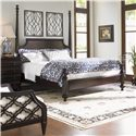 Tommy Bahama Home Royal Kahala Queen-Size Diamond Head Bed with Adjustable Posts & Canopy - Shown with High/Low Post Option with Black Sands Night Chest and Bay Club Chair - Bed Shown May Not Represent Size Indicated
