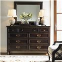 Tommy Bahama Home Royal Kahala Nine-Drawer Royal Suite Dresser with Drop-Front Component Storage - Shown with Landscape Mirror and Bay Club Chair