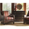 Tommy Bahama Home Royal Kahala Four-Drawer Shapely Black Sands Night Chest - Shown with Koko Leather Chair