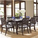 Tommy Bahama Home Royal Kahala Islands Edge Rectangular Leg Dining Table - Shown with Molokai Arm and Side Chairs