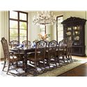 Tommy Bahama Home Royal Kahala Islands Edge Rectangular Leg Dining Table - Shown with Pacific Rim Arm Chairs, Pacific Rim Side Chairs, and Ocean Crest Display Cabinet