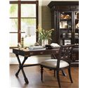 Tommy Bahama Home Royal Kahala Customizable Molokai Side Chair with Upholstered Seat - Shown with Poets Crossing Writing Desk and Ocean Crest Display Cabinet