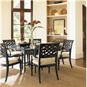 Tommy Bahama Home Royal Kahala Quick Ship Molokai Arm Chair with Upholstered Seat - Shown with 60-Inch Sugar and Lace Table