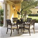 Tommy Bahama Home Royal Kahala Quick Ship Molokai Arm Chair with Upholstered Seat - Shown with 54-Inch Sugar and Lace Table