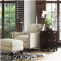 Tommy Bahama Home Royal Kahala Octagonal Pacific Campaign Accent Table with One Door & One Shelf - Shown with Edgewater Chair and Ottoman