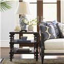 Tommy Bahama Home Royal Kahala Glass Top Tropic Lamp Table with Two Woven Wicker Shelves - Shown with Bay Club Sofa