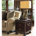 Tommy Bahama Home Royal Kahala Two-Drawer Sunset Cay Lamp Table with Patterned Nailhead Trim - Shown with Edgewater Sofa