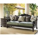 Tommy Bahama Home Royal Kahala Three-Drawer Black Sands Lamp Table - Shown with Turtle Bay Sofa